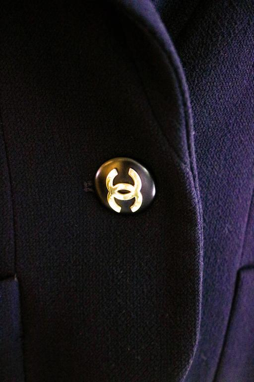 CHANEL Classic Navy Blazer with Logo Button 36 6