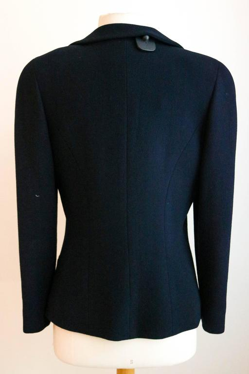 CHANEL Classic Navy Blazer with Logo Button 36 3