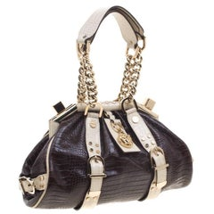 Versace Handbag Brown/Cream/Gold Croc Embossed Leather Madonna Boston Bag.