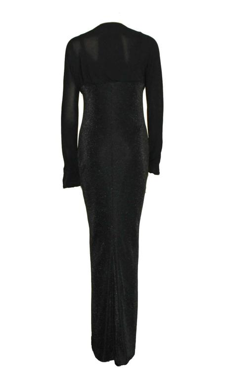 Black Gianni Versace Couture Lurex Cutout Gown FW 1997  For Sale
