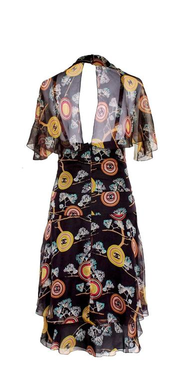Amazing Chanel  Silk Chiffon CC Logo Print Dress 4