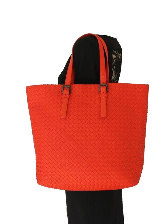 b85d1f249e Red Bottega Veneta Extra Large Orange Intrecciato Nappa Tote Bag and Mirror  For Sale