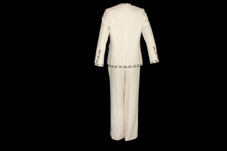 Beige CHANEL Maison Lesage Silk Chain Trouser Pant Suit For Sale