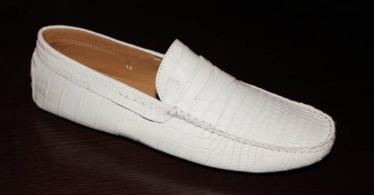 Gray TOD'S White Gommino Driving Shoes Exotic Crocodile Skin Moccasins For Sale