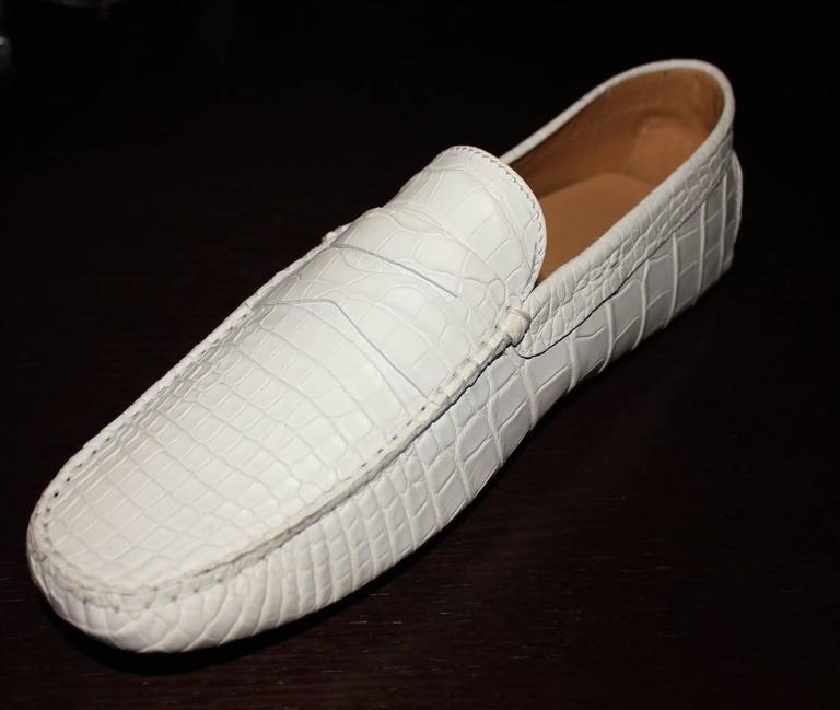 Men's TOD'S White Gommino Driving Shoes Exotic Crocodile Skin Moccasins For Sale