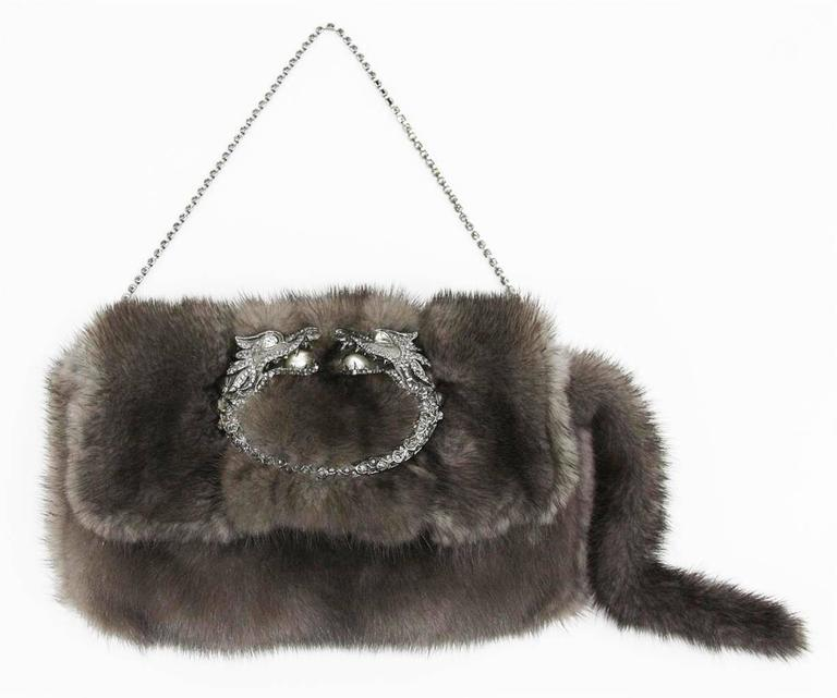 EXTREMELY RARE  GUCCI BY TOM FORD  GORGEOUS MINK FUR EVENING BAG  WITH STUNNING JEWELED DRAGON DETAIL  DETAILS:  A GUCCI signature piece that will last you for many years From one of GUCCI's most stunning collections by Tom Ford Very rare