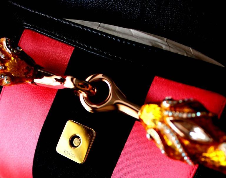 Gucci by Tom Ford Striped Black Lizard Skin Jeweled Snake Horsebit XXL Clutch For Sale 2