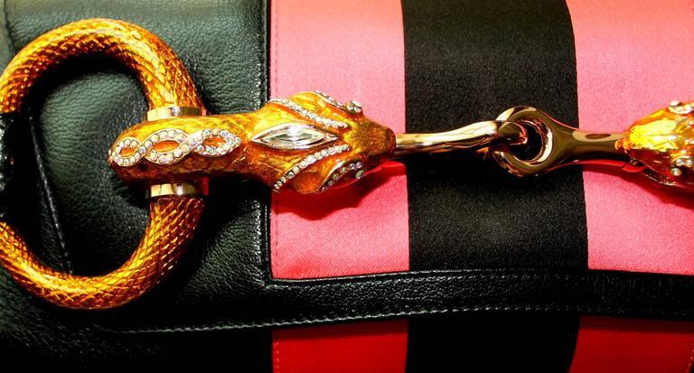 Gucci by Tom Ford Striped Black Lizard Skin Jeweled Snake Horsebit XXL Clutch 5