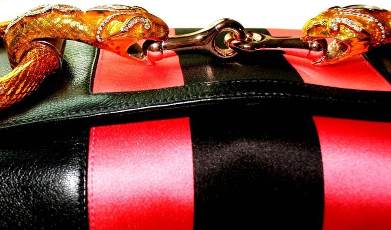 Gucci by Tom Ford Striped Black Lizard Skin Jeweled Snake Horsebit XXL Clutch 4
