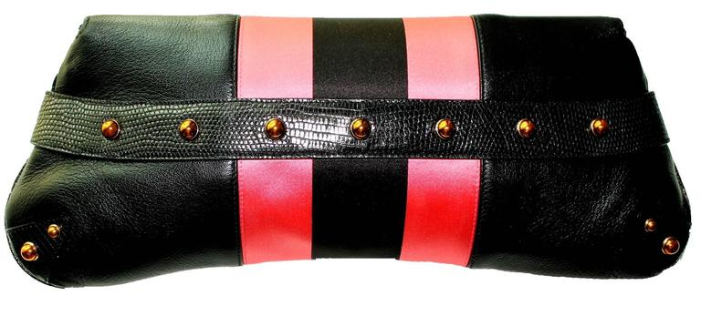 Gucci by Tom Ford Striped Black Lizard Skin Jeweled Snake Horsebit XXL Clutch In New Condition For Sale In Switzerland, CH
