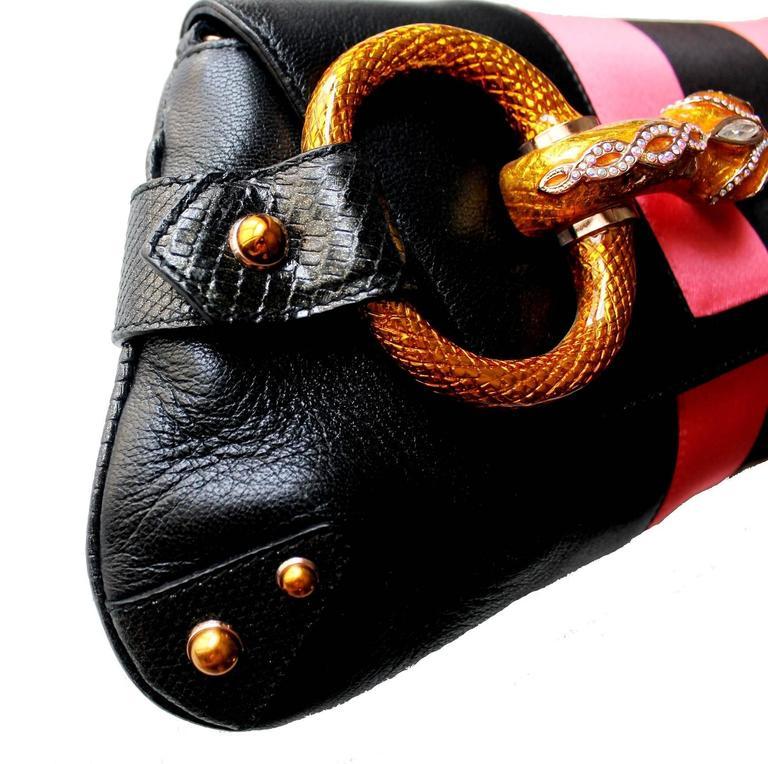 Gucci by Tom Ford Striped Black Lizard Skin Jeweled Snake Horsebit XXL Clutch 2