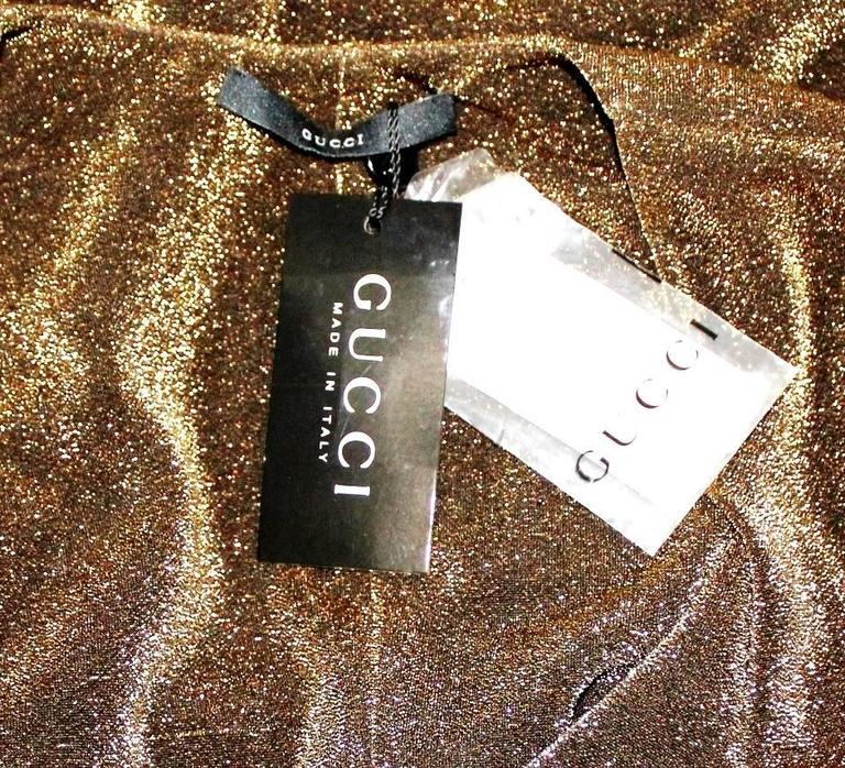NEW Gucci By Tom Ford 2000 Metallic Deep Plunging Evening Dress  For Sale 1
