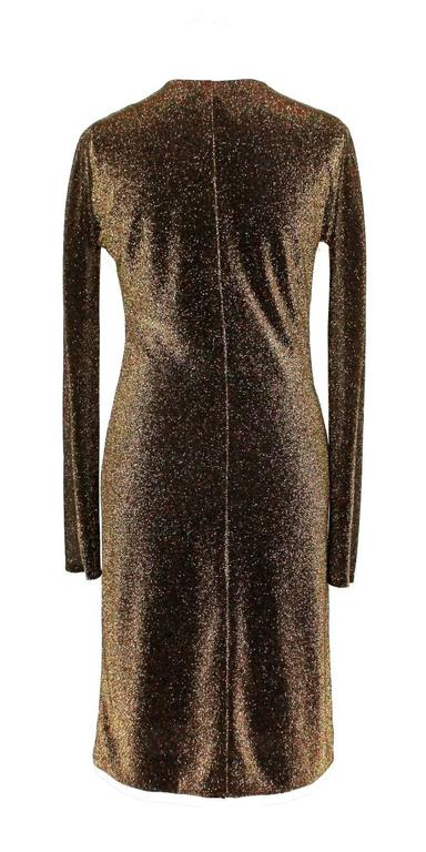Black NEW Gucci By Tom Ford 2000 Metallic Deep Plunging Evening Dress  For Sale