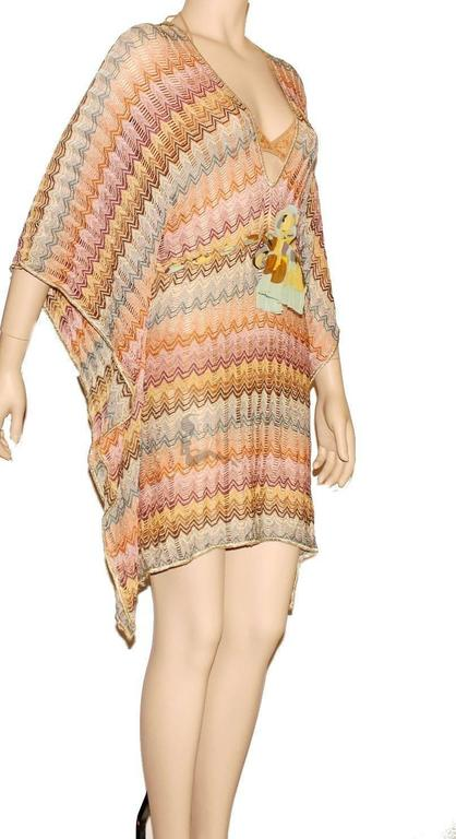 Stunning Missoni Gold Metallic Crochet Knit Kaftan Tunic Dress 2