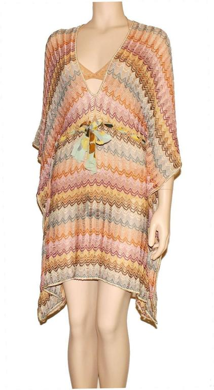 Stunning Missoni Gold Metallic Crochet Knit Kaftan Tunic Dress 3