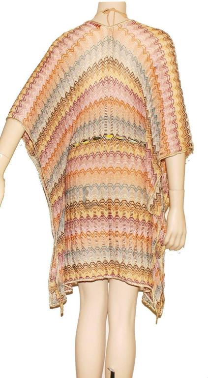 Stunning Missoni Gold Metallic Crochet Knit Kaftan Tunic Dress 4