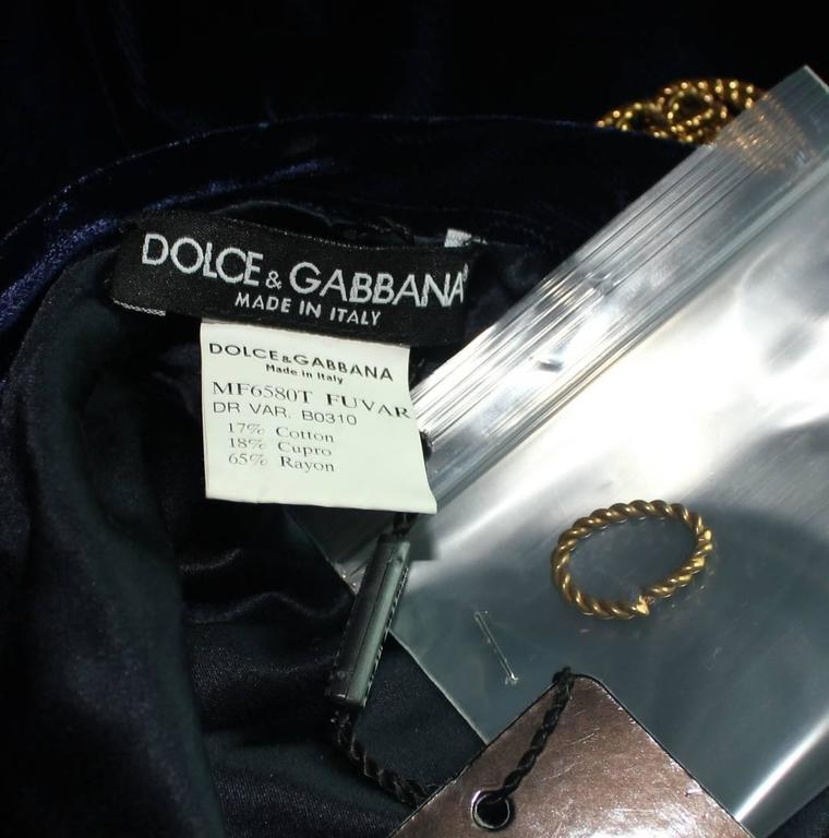 Stunning Dolce & Gabbana Midnight Blue Velvet Chain Empire Dress 4