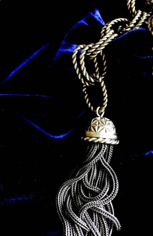 Stunning Dolce & Gabbana Midnight Blue Velvet Chain Empire Dress 5