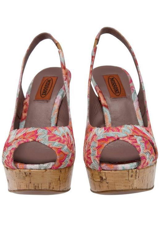 Brown Beautiful Missoni Pink Crochet Knit Peep High Heels For Sale