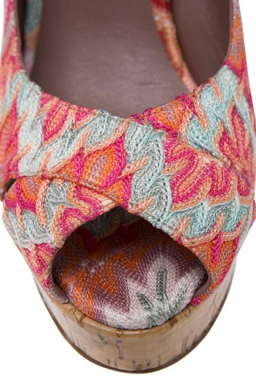 Beautiful Missoni Pink Crochet Knit Peep High Heels In New Never_worn Condition For Sale In Switzerland, CH