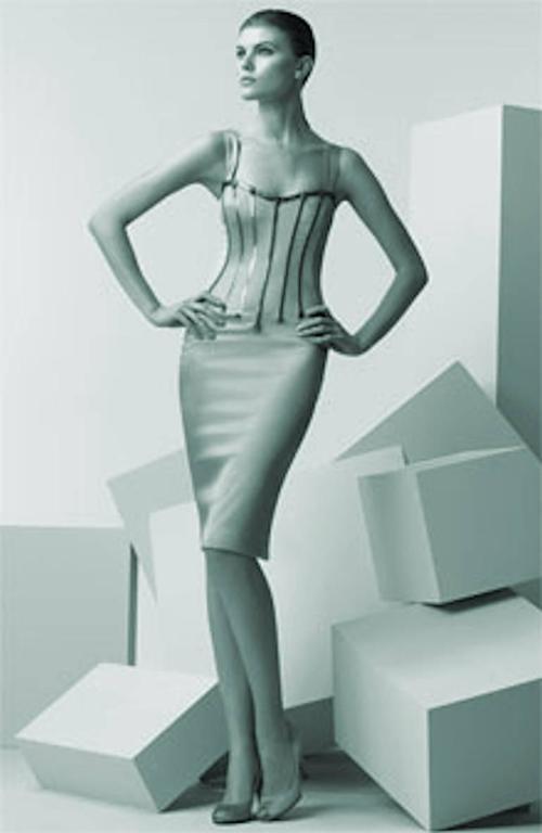 Dolce & Gabbana Silver Grey Stretch Silk Leather Dress For Sale 1
