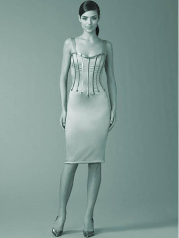 Dolce & Gabbana Silver Grey Stretch Silk Leather Dress For Sale 2