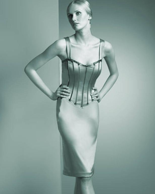 Dolce & Gabbana Silver Grey Stretch Silk Leather Dress For Sale 3