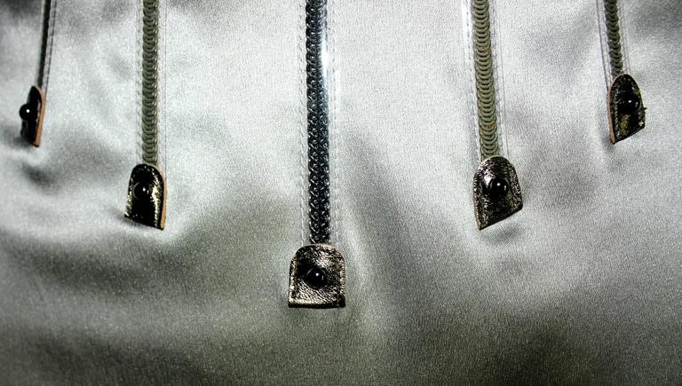 Dolce & Gabbana Silver Grey Stretch Silk Leather Dress In New never worn Condition For Sale In Switzerland, CH