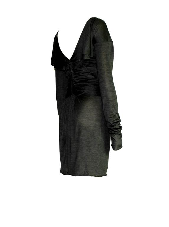 """RARE  STUNNING GREY DRAPED DRESS  BY TOM FORD FOR HIS SS 2003 COLLECTION FOR GUCCI  DETAILS:      Stunning grey GUCCI dress     Beautiful ruched details all over     Overlocked seams     Little """"wings"""" on back - just amazing!"""