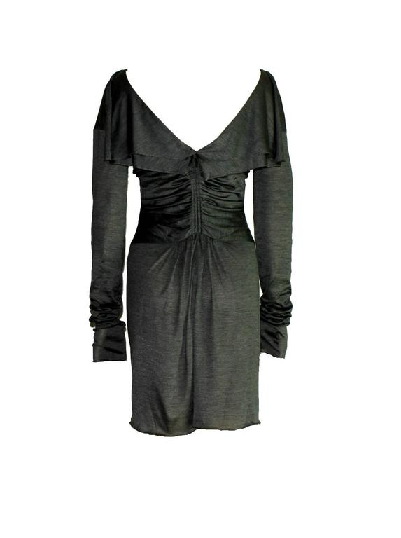 Black Gucci Tom Ford Spring 2003 Ruched Knitted Silk Dress For Sale