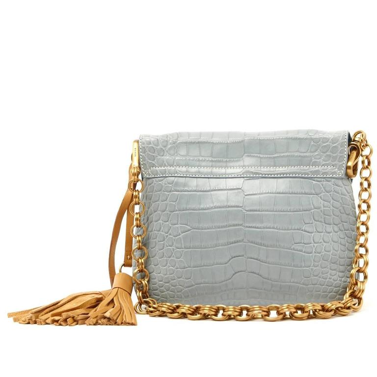 Pale Blue Prada Alligator Tassle Handbag Purse 2