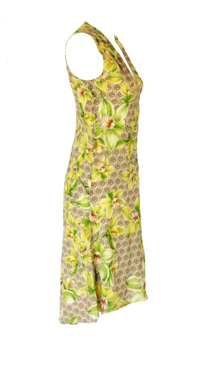 Versace Arabesque Silk Floral Orchid Print Dress 2