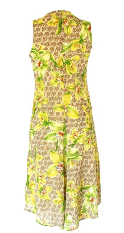 Beige Versace Arabesque Silk Floral Orchid Print Dress For Sale