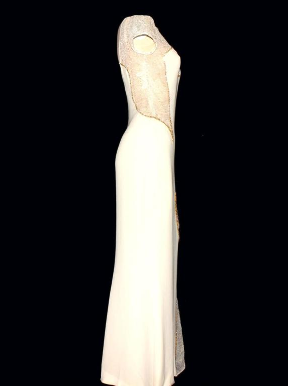 Unique Gianni Versace Couture Silk Crystal Evening Gown 2