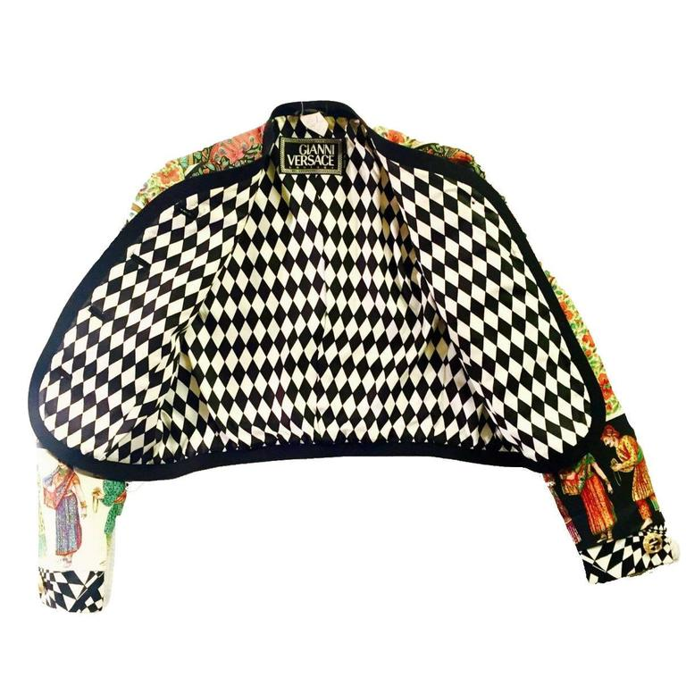 Rare 1992 Gianni Versace Couture Printed Silk Jacket 6
