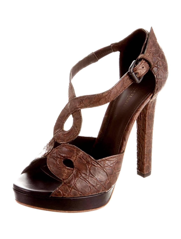 bottega veneta chocolate brown crocodile high heel sandals
