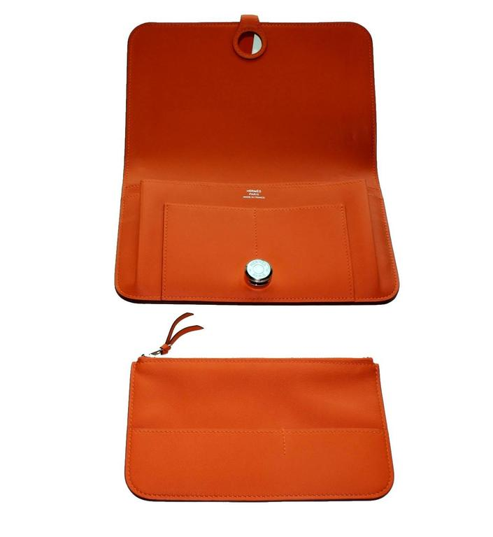 Brandnew Hermes Poppy Orange Dogon Duo Wallet And Change Purse 2