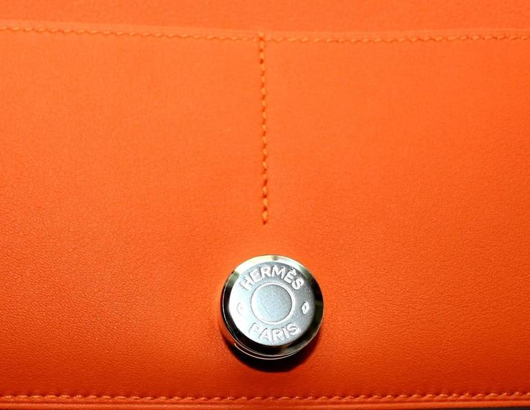 Brandnew Hermes Poppy Orange Dogon Duo Wallet And Change Purse 5