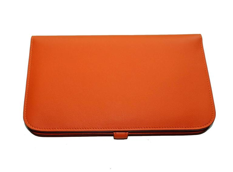 Brandnew Hermes Poppy Orange Dogon Duo Wallet And Change Purse 4