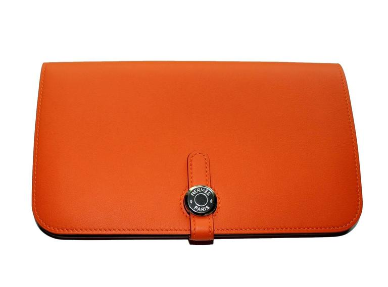 Brandnew Hermes Poppy Orange Dogon Duo Wallet And Change Purse 3