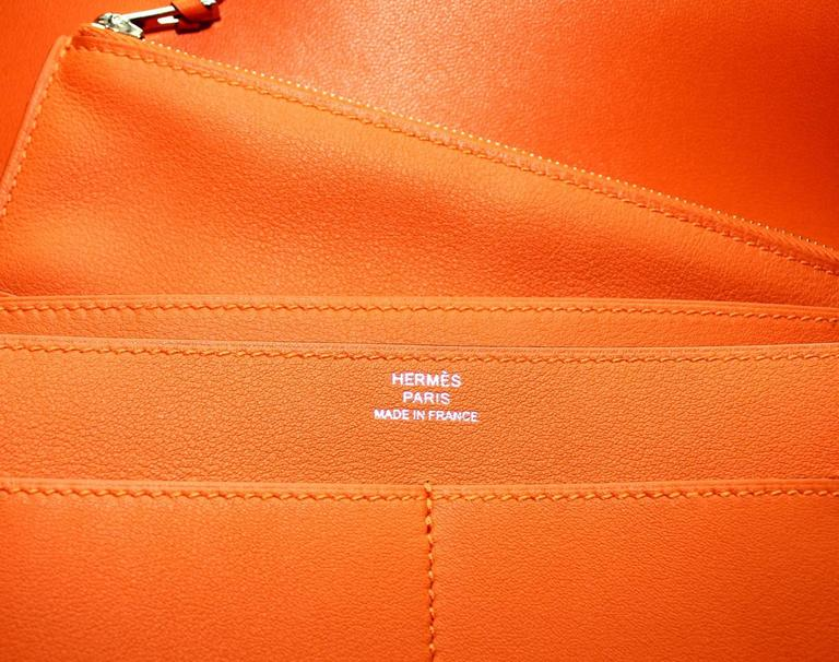 Brandnew Hermes Poppy Orange Dogon Duo Wallet And Change Purse 7