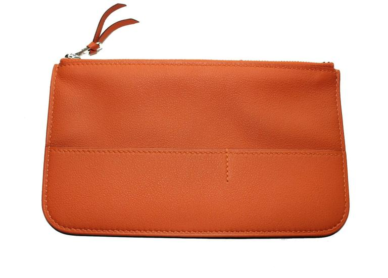 Brandnew Hermes Poppy Orange Dogon Duo Wallet And Change Purse 6