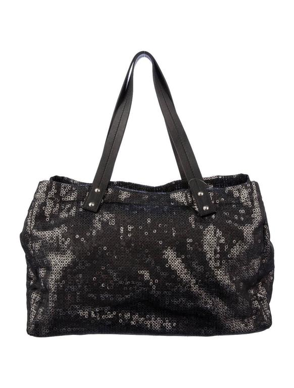 """Large Chanel CC Leather Logo """"Hidden Sequin"""" Mesh Tote with Pouch 2"""