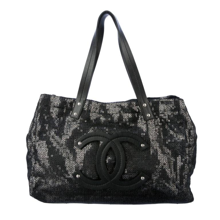 """Large Chanel CC Leather Logo """"Hidden Sequin"""" Mesh Tote with Pouch 1"""