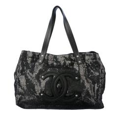 "Chanel CC Leather Logo Large ""Hidden Sequin"" Mesh Tote with Pouch"