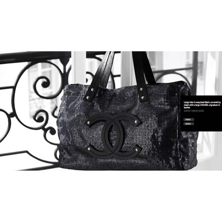 """Large Chanel CC Leather Logo """"Hidden Sequin"""" Mesh Tote with Pouch 9"""
