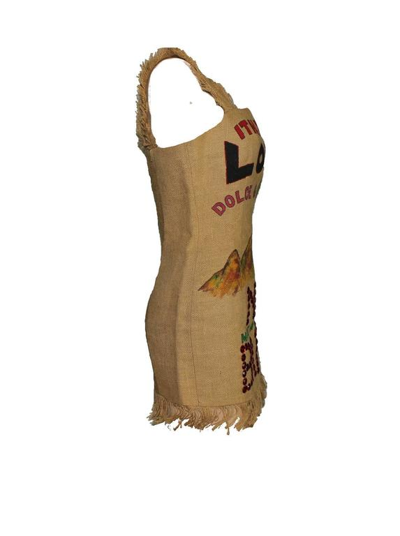 UNIQUE PIECE  COLLECTOR´S  DOLCE & GABBANA  PRINTED SACK DRESS  FROM THE FAMOUS SPRING SUMMER 1992 COLLECTION