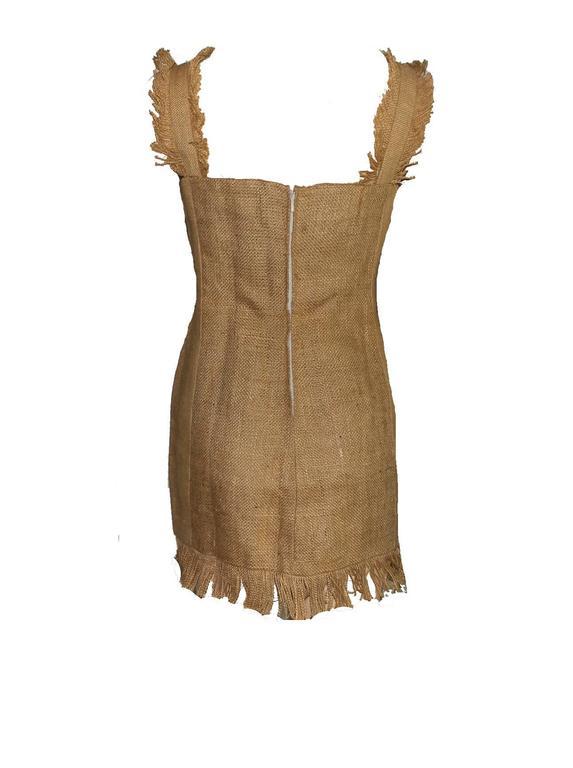 Brown NEW Rare Museum Piece - Dolce & Gabbana 1992 Printed Jute Sack Dress For Sale
