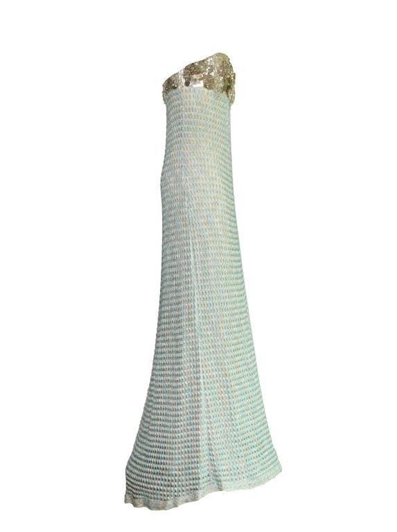 Missoni Metallic Blue Crochet Knit Corset Evening Gown For Sale at ...