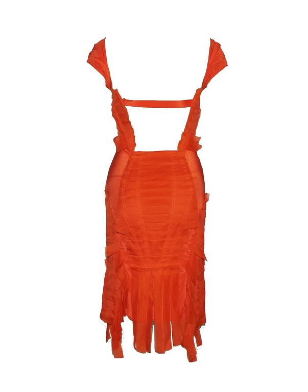 Gucci Tom Ford Spring 2004 Tangerine Frayed Silk Organza Dress 2